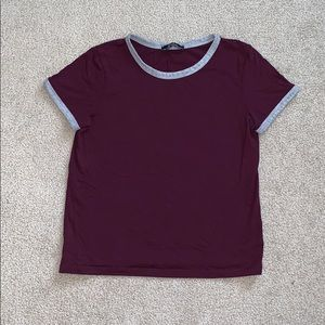 Bershka // Burgundy Cropped T-Shirt
